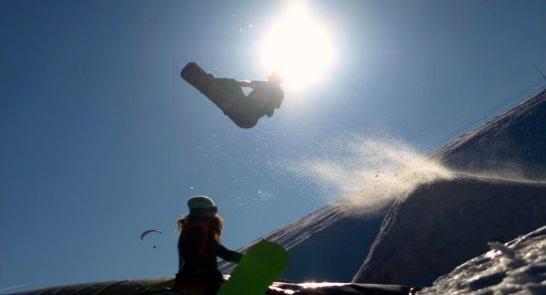 snowboarding in the sun